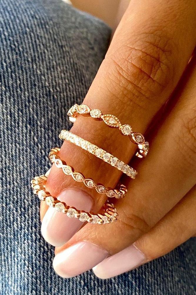 rose gold wedding rings bridal sets wedding bands unique ring