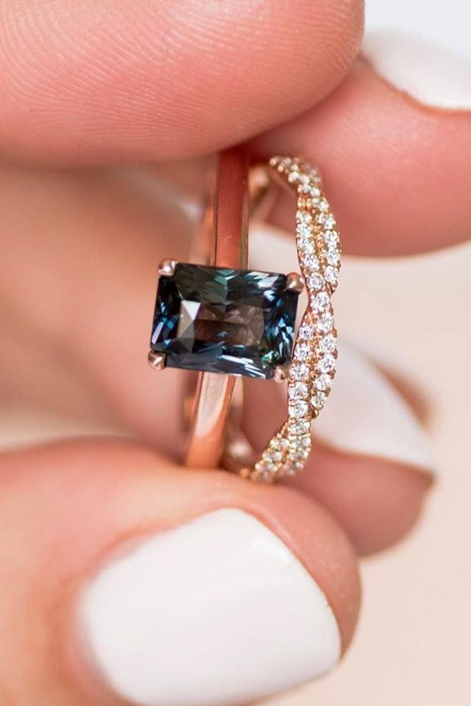 sapphire engagement rings emerald cut rings unique wedding ring