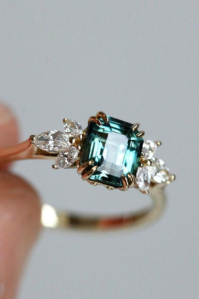 sapphire engagement rings rose gold ring green sapphire ring emerald cut ring