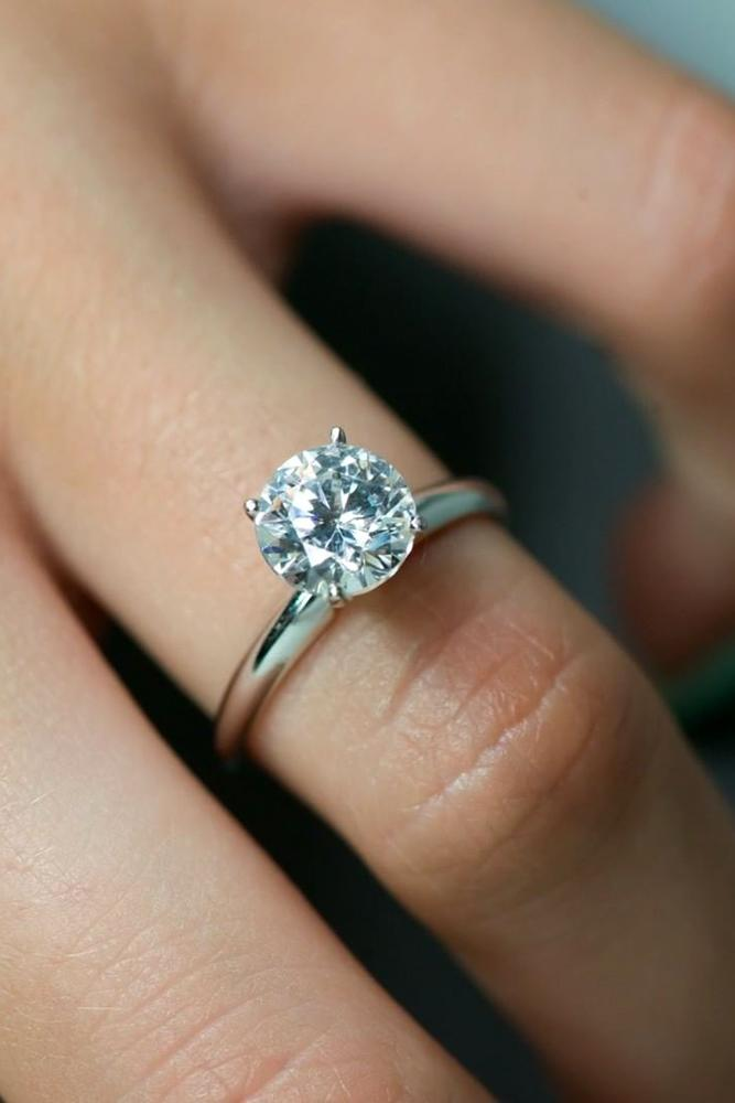 simple engagement ring solitaire engagement ring round cut ring