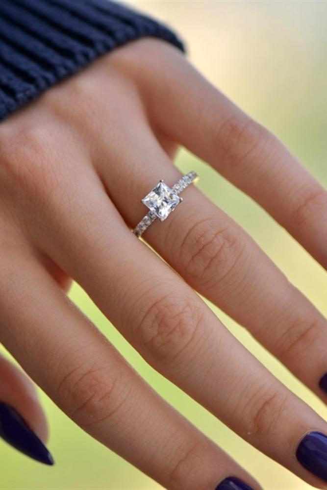 simple engagement rings white gold engagement rings princess cut rings classic rings