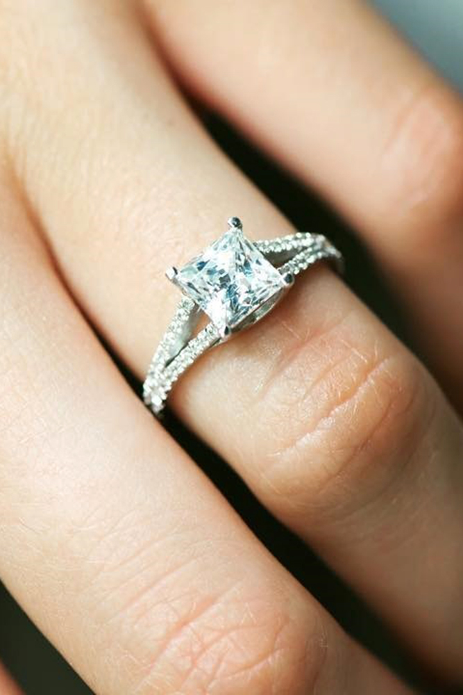 solitaire engagement rings princess cut engagement rings split shank white gold rings