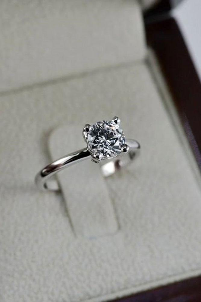 solitaire engagement rings round cut engagement rings white gold rings