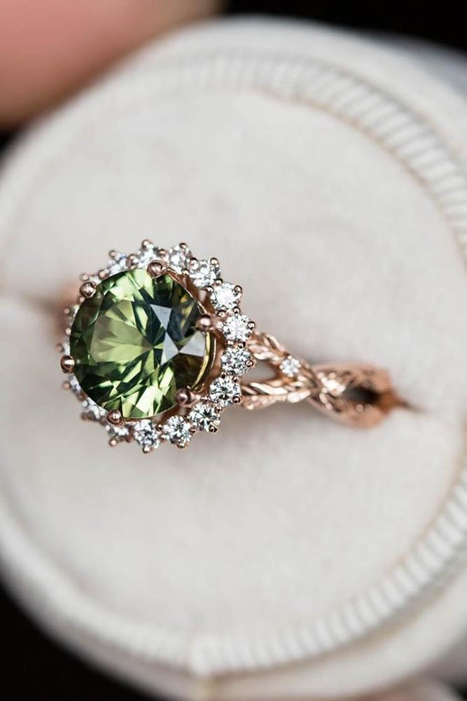 unique engagement rings floral ring rose gold engagement ring green gemstone