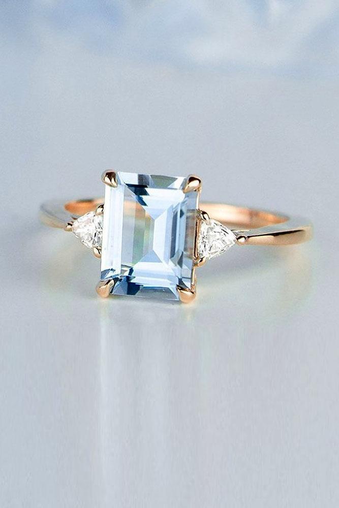 unique engagement rings rose gold rings aquamarine ring three stone ring