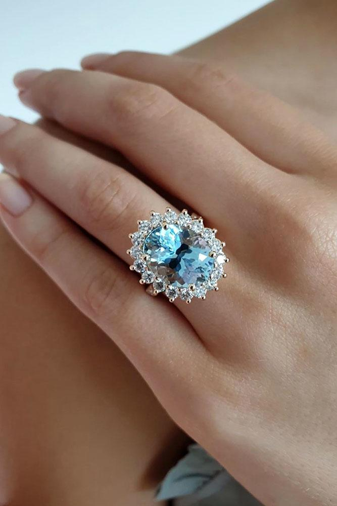 unique engagement rings white gold rings aquamarine ring floral halo
