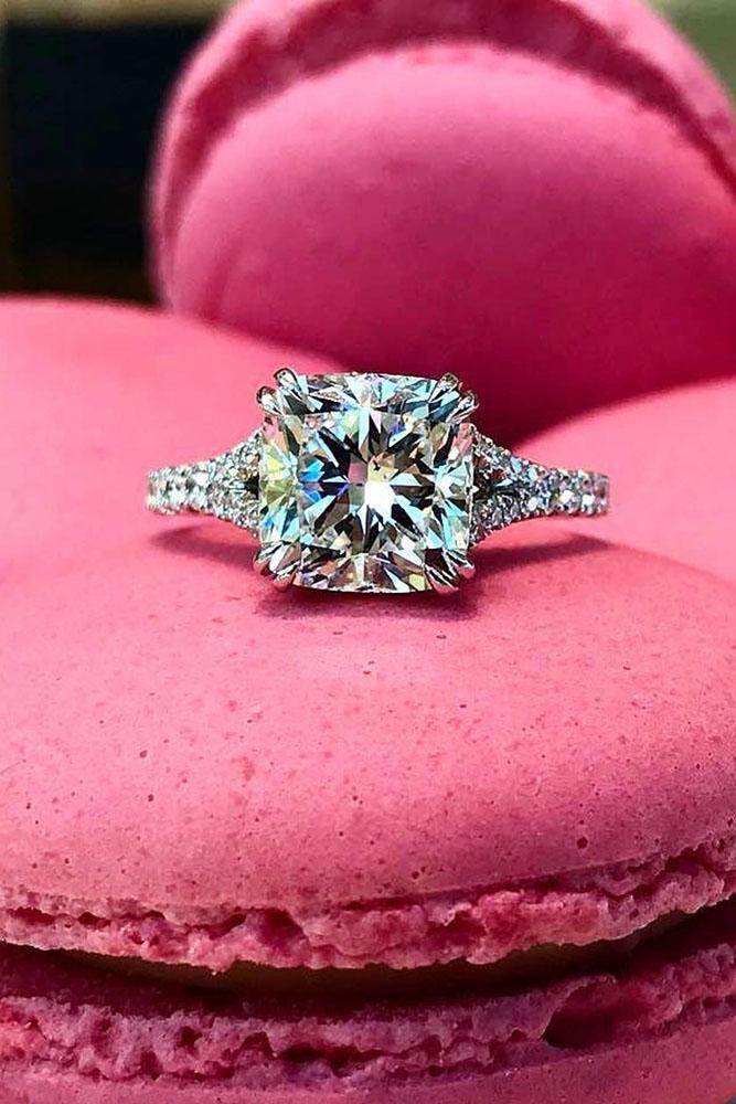 diamond engagement rings white gold rings cushion cut ring split shank