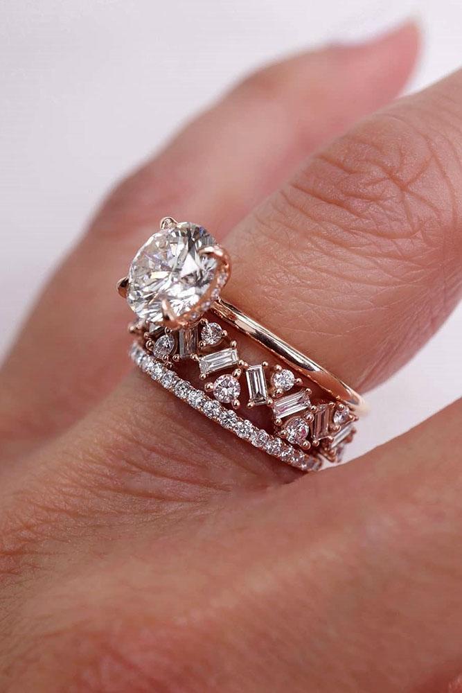 diamond wedding rings rose gold wedding rings round ring