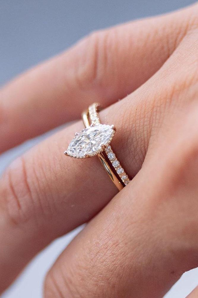 marquise diamond rose gold engagement ring solitaire ring