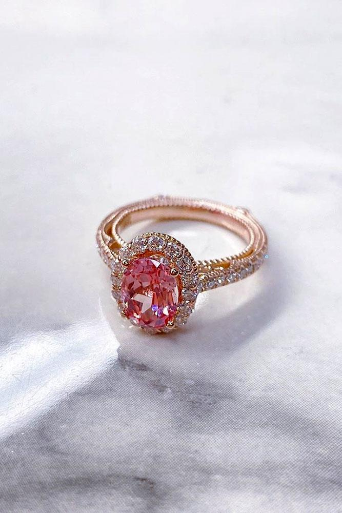 oval engagement rings rose gold engagement rings gemstone ring halo ring