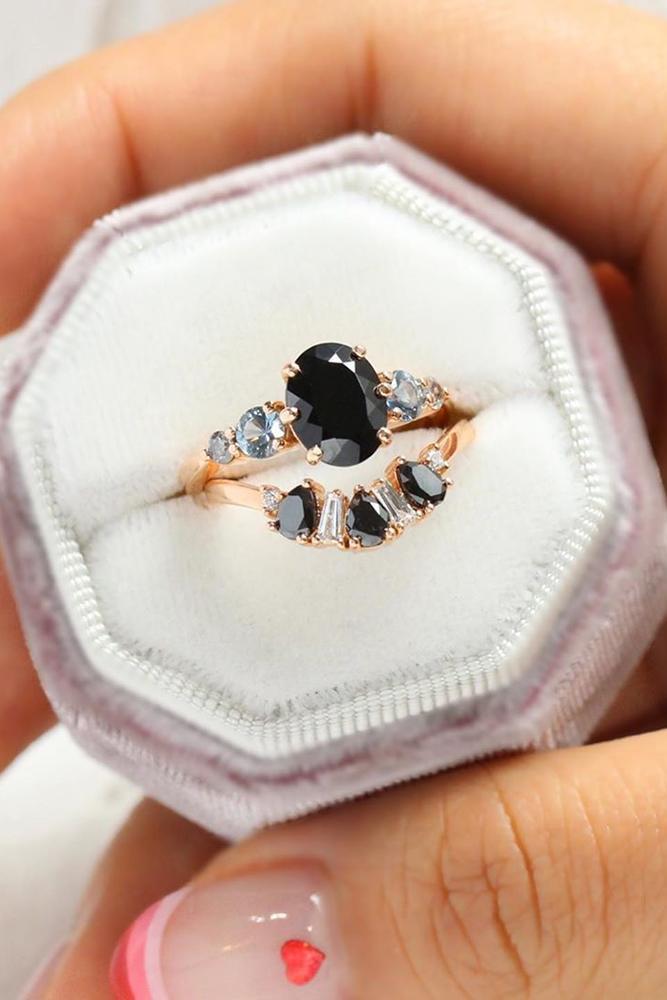oval engagement rings wedding ring sets wedding rings bridal sets black spinel