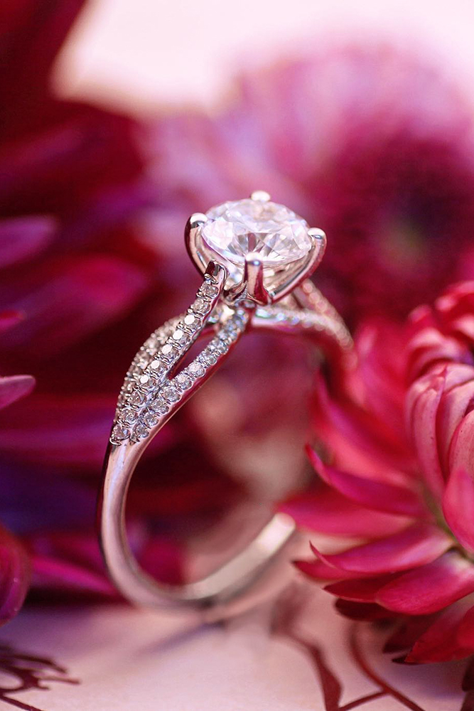 real vs fake diamonds white gold engagement rings round ring split shank