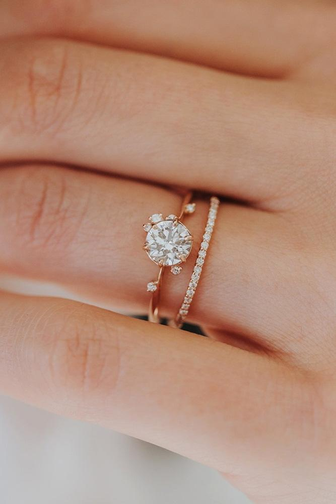 rose gold wedding rings round cut engagement rings floral ring