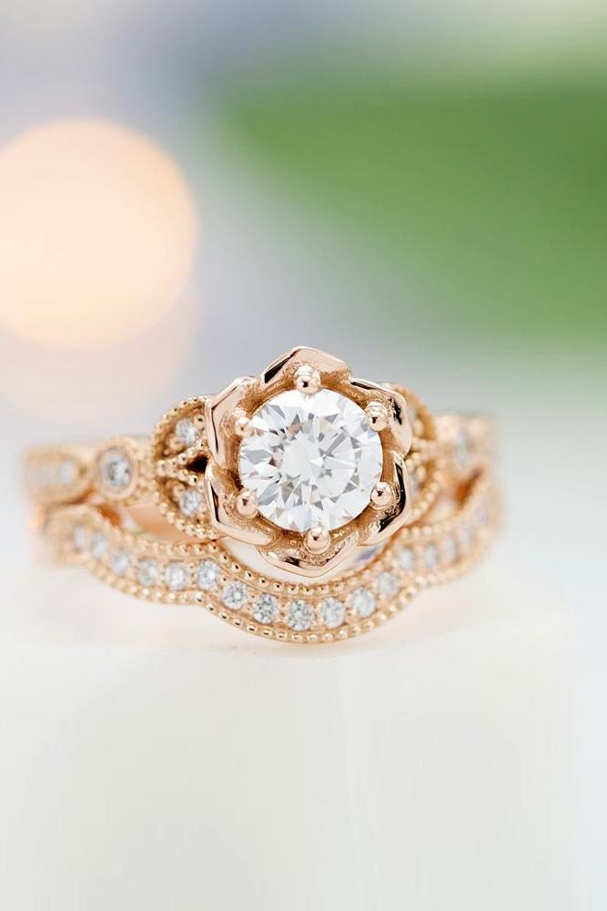 rose gold wedding rings unique wedding rings bridal sets floral ring
