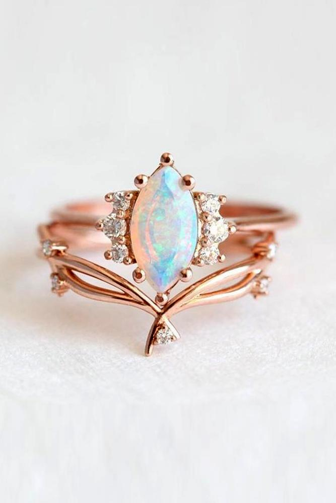 rose gold wedding rings unique wedding rings bridal sets opal rings