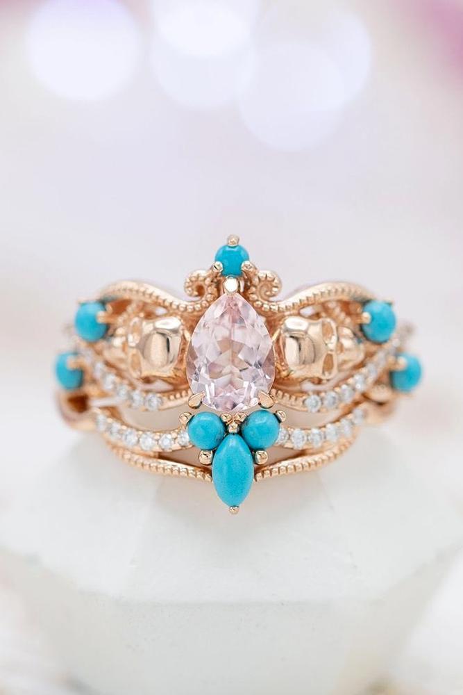 rose gold wedding rings unique wedding rings bridal sets morganite rings