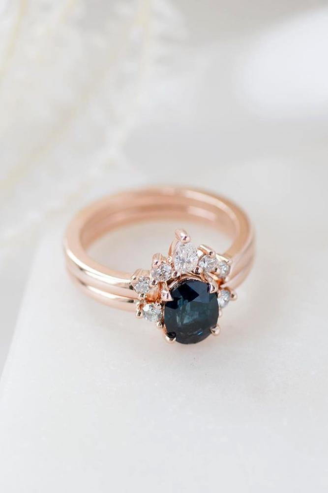 sapphire engagement rings rose gold ring blue sapphire ring
