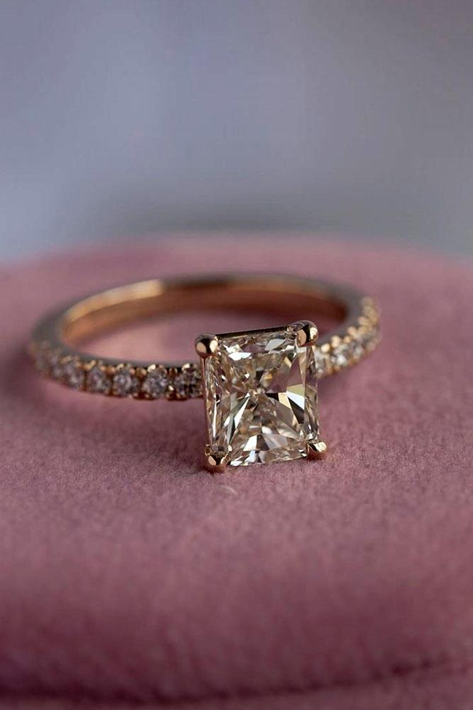 simple engagement rings radiant cut ring pave band