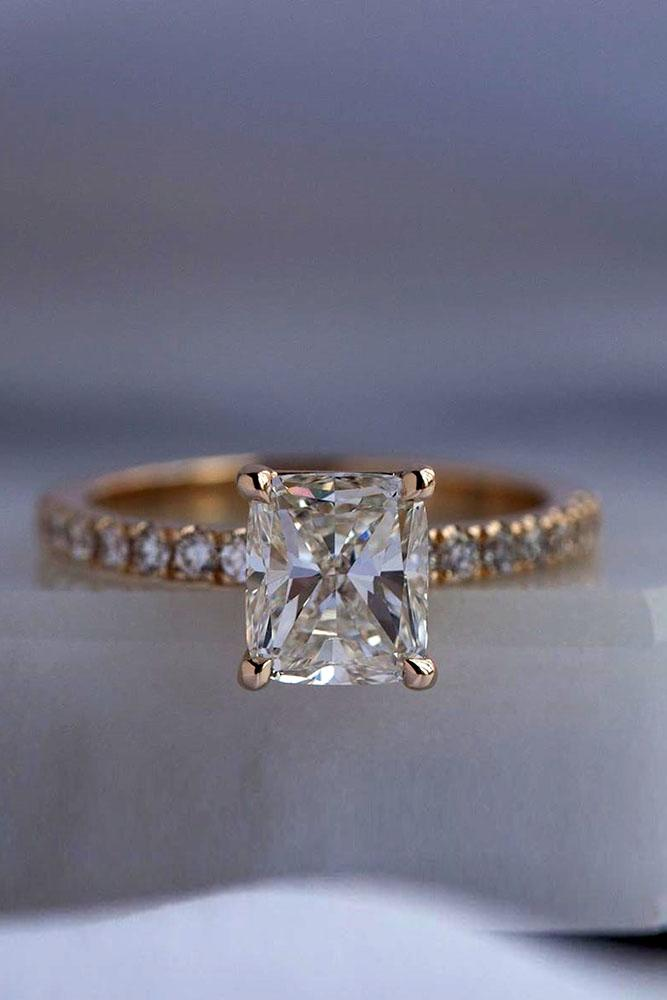 simple engagement rings radiant cut ring pave band solitaire ring