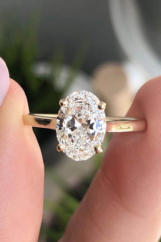 solitaire engagement rings rose gold ring simple ring oval cut ring