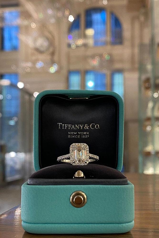 tiffany engagement rings white gold ring emerald cut ring