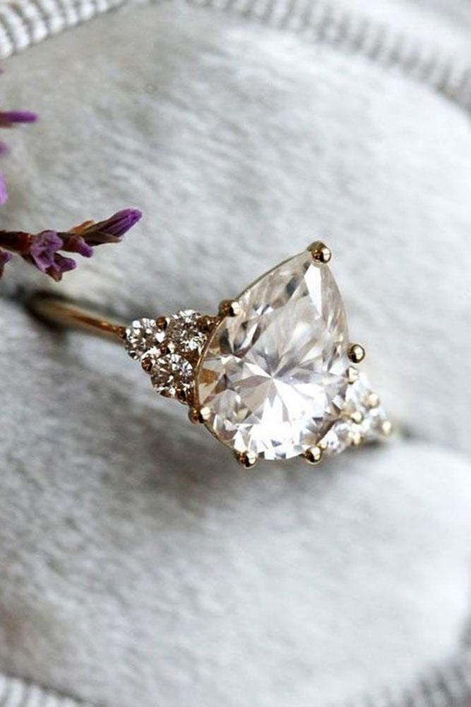 unique engagement rings pear cut engagement rings moissanite ring rose gold ring