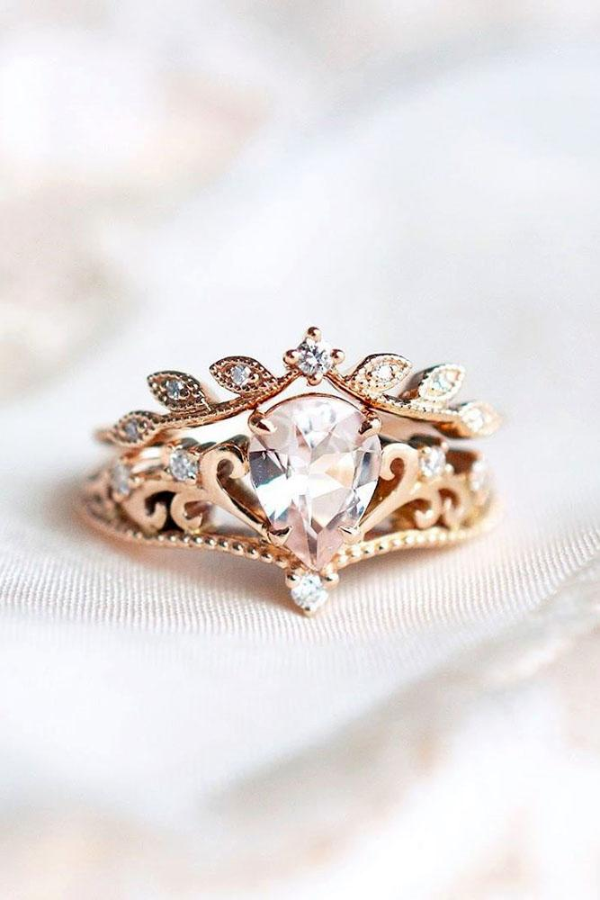 vintage engagement rings rose gold engagement ring pear shaped ring