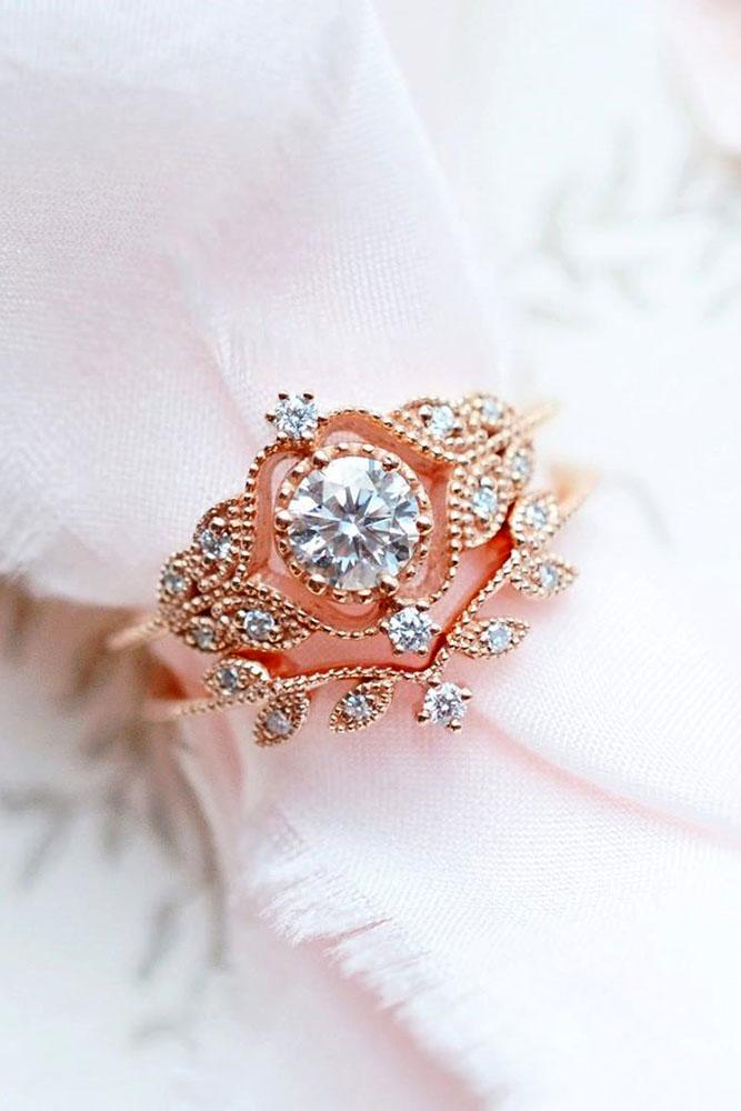 vintage engagement rings rose gold engagement ring round cut ring