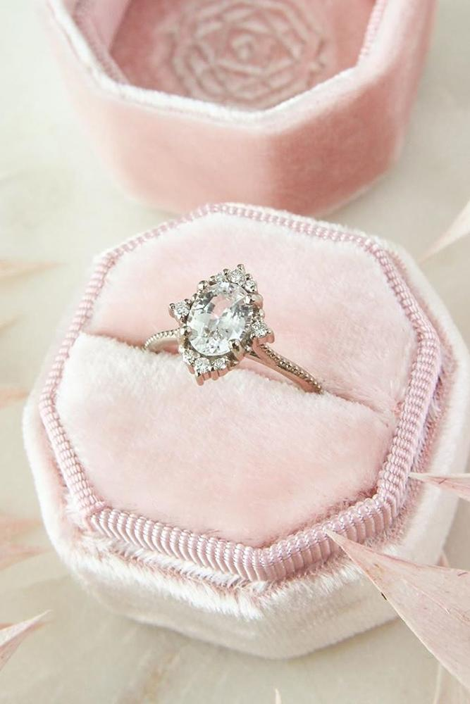 vintage engagement rings unique ring white gold ring halo ring