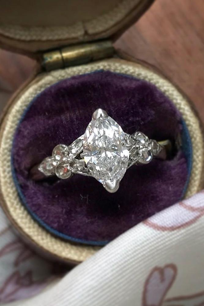 vintage engagement rings unique ring white gold ring marquise cut ring