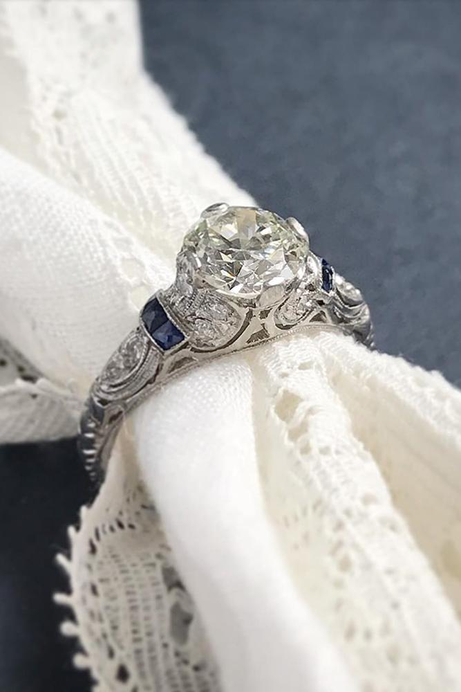 vintage engagement rings unique ring white gold ring sapphire ring
