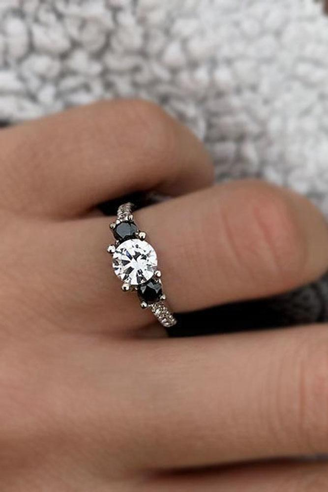 black diamond engagement rings three stone ring