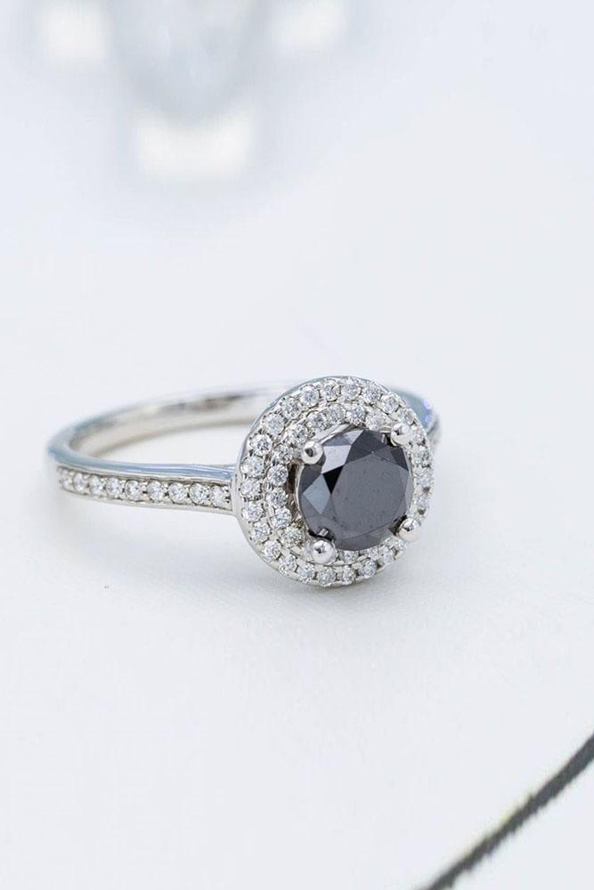 black diamond engagement rings white gold ring double ring round cut