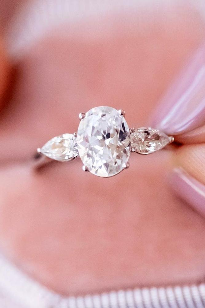 diamond engagement rings three stone ring round oval cut engagement ring