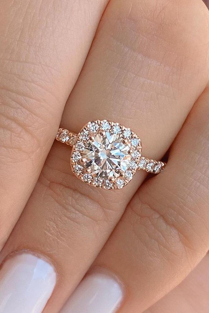 halo engagement rings rose gold engagement rings round cut ring