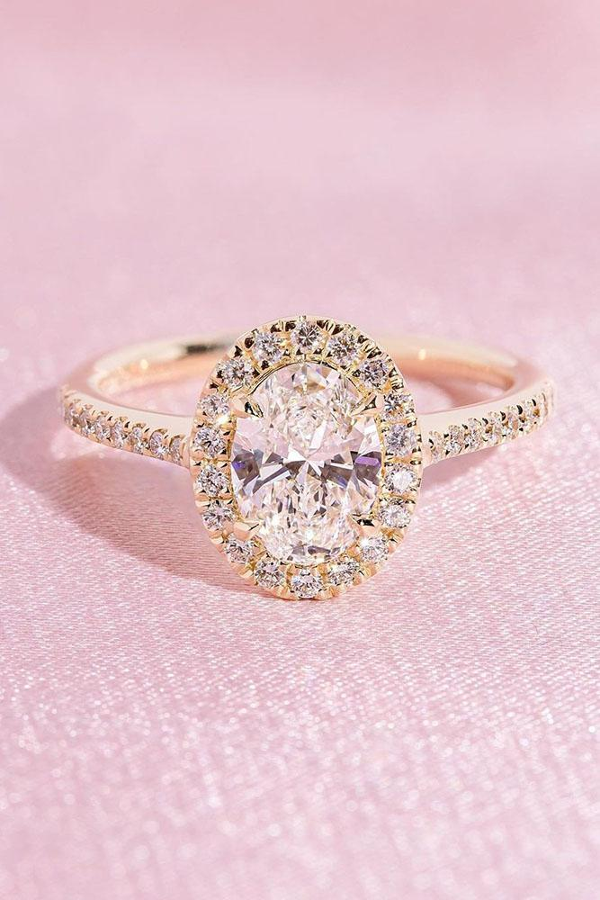 oval engagement rings rose gold engagement rings halo ring