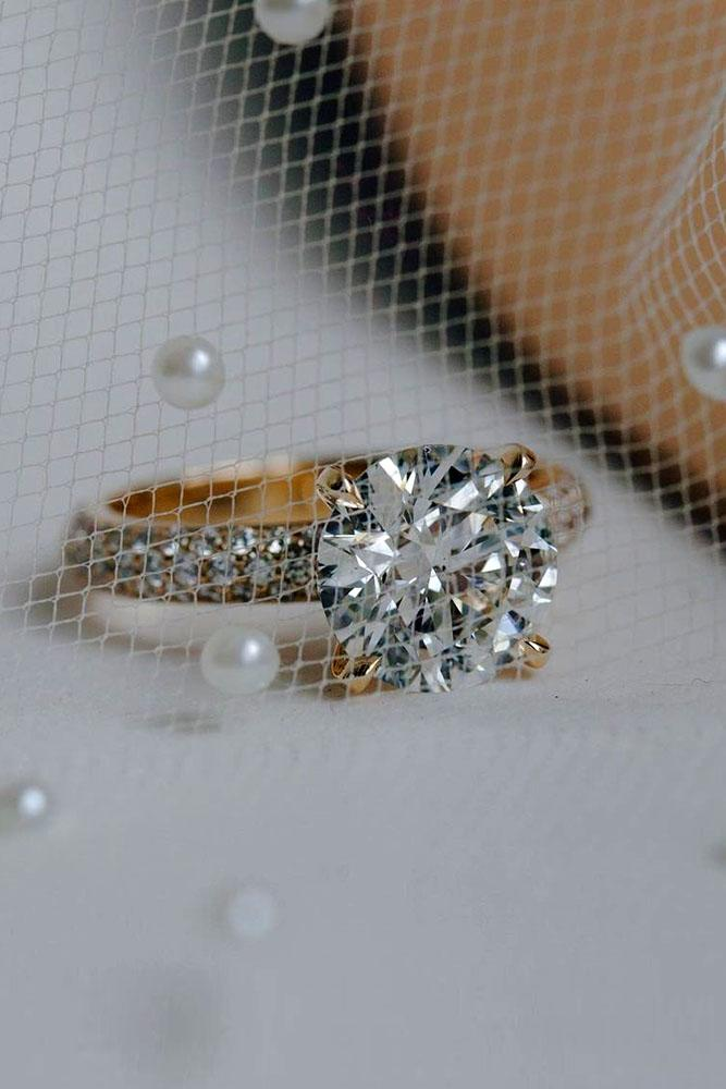 round engagement rings rose gold engagement rings pave band