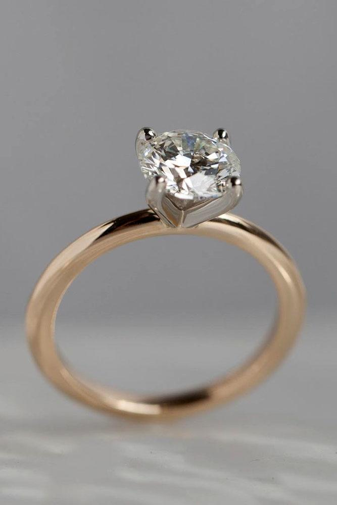 round engagement rings rose gold engagement rings solitaire rings