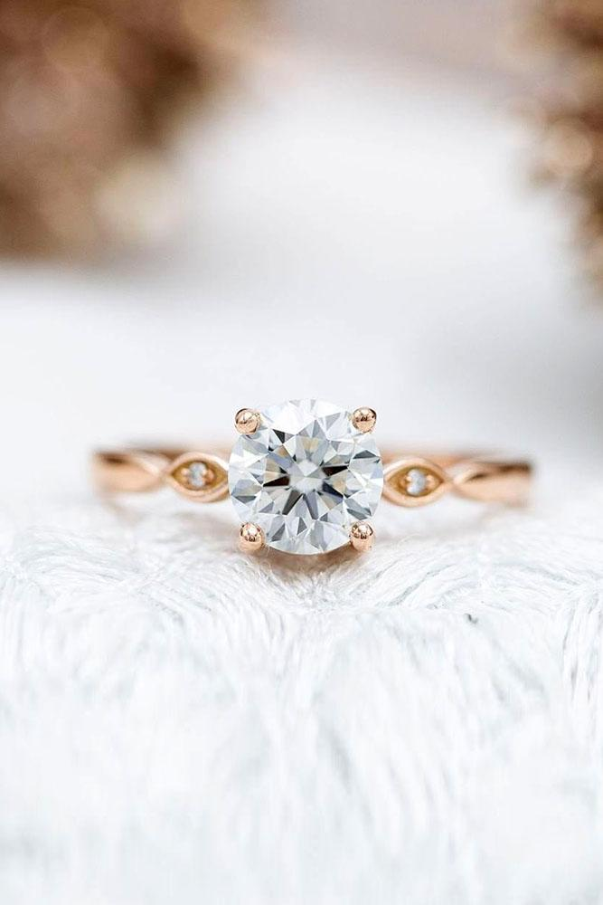 round engagement rings rose gold engagement rings unique rings
