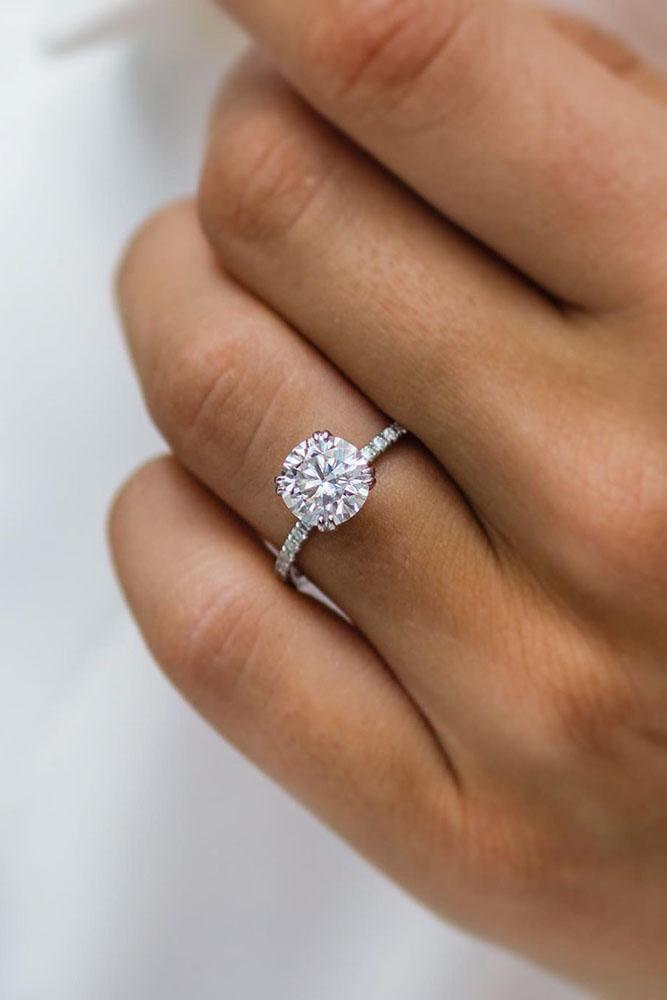 round engagement rings white gold engagement rings pave band