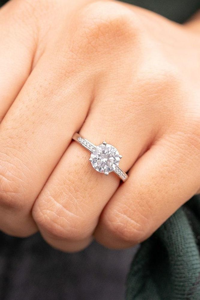 round engagement rings white gold engagement rings solitaire rings