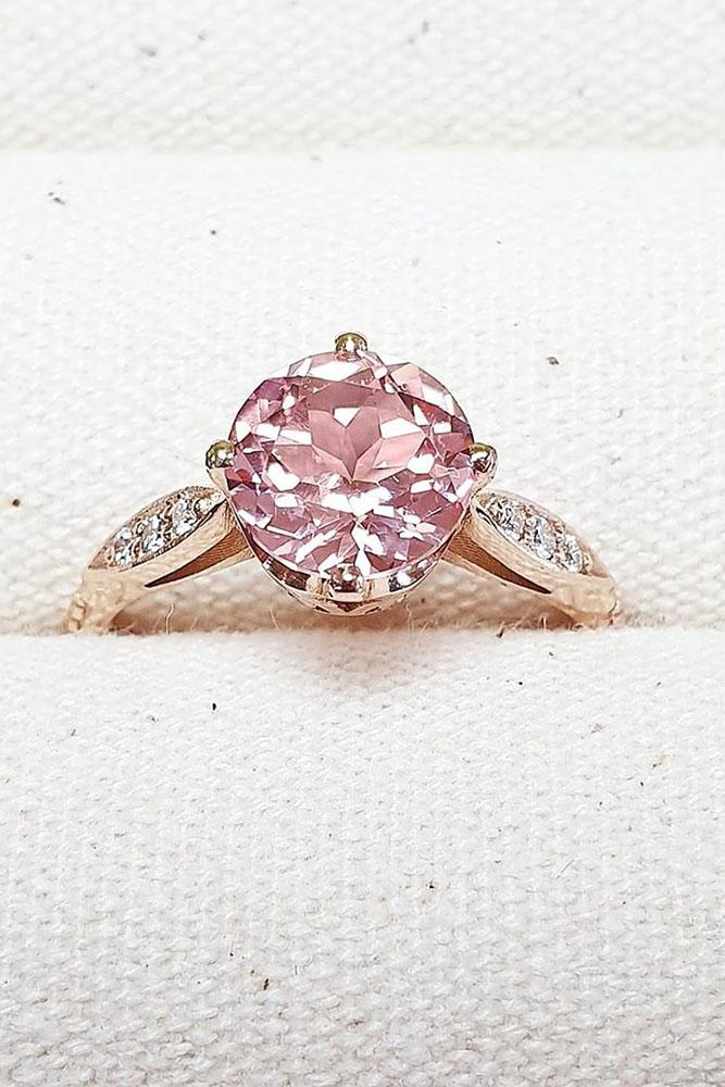 sapphire engagement rings rose gold ring round cut ring pink sapphire