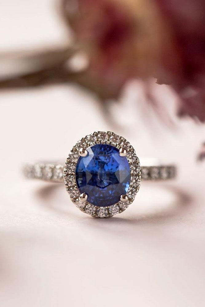 sapphire engagement rings white gold ring halo ring oval cut