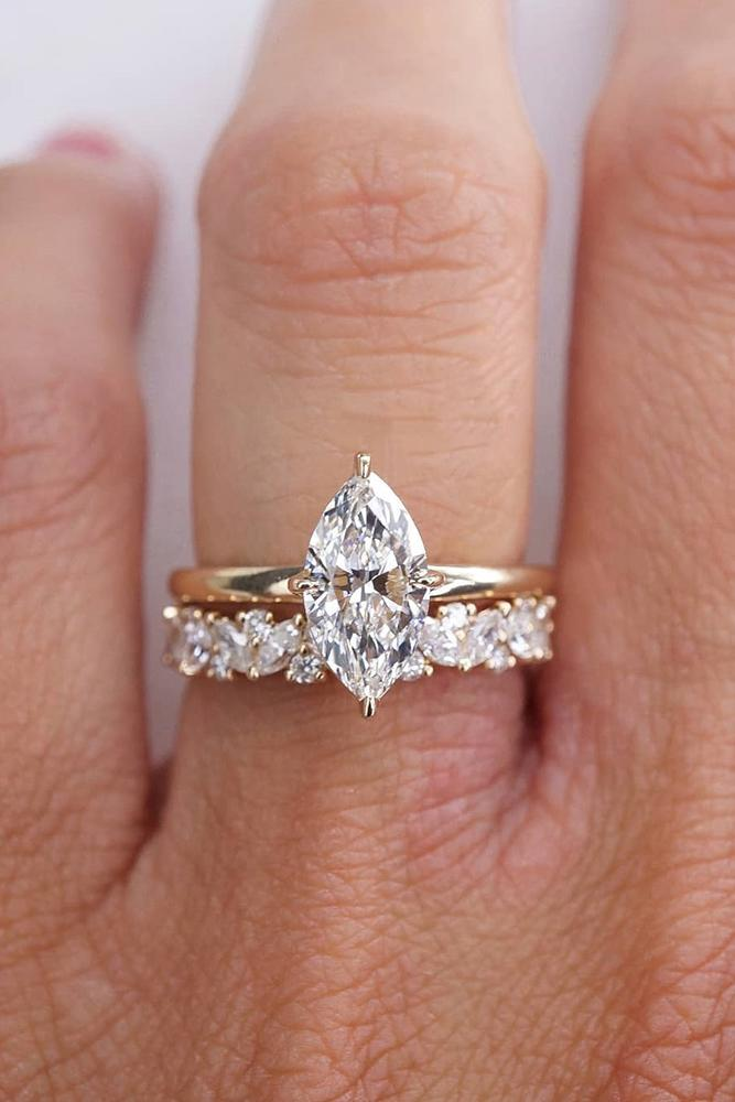 solitaire engagement rings rose gold engagement rings marquise cut engagement rings