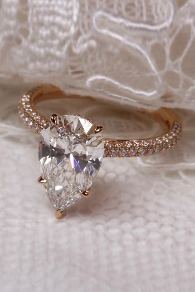 solitaire engagement rings rose gold engagement rings pear shaped engagement rings