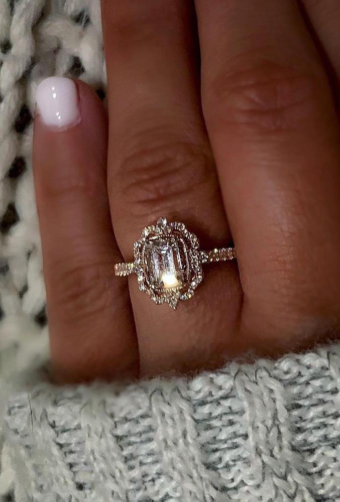 unique engagement rings emerald cut rings rings rose gold