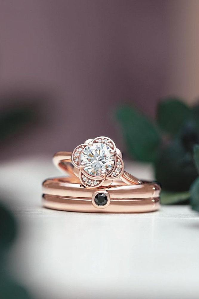 unique engagement rings rose gold engagement rings floral engagement ring