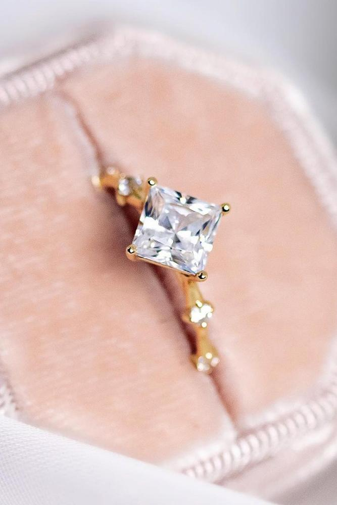 unique engagement rings rose gold engagement rings princess cut ring