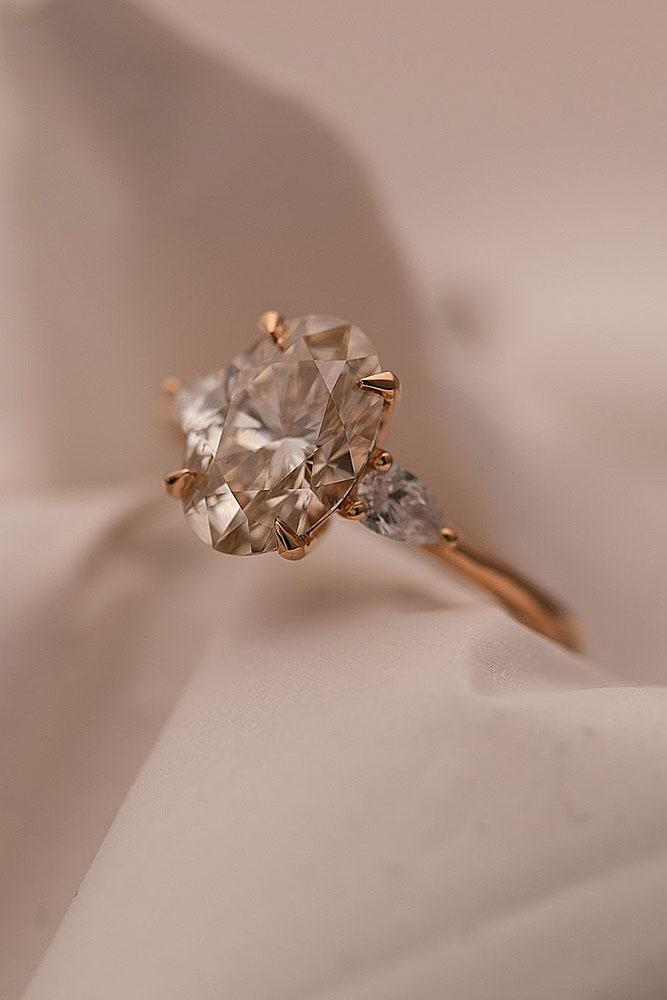 oval engagement rings rose gold engagement rings