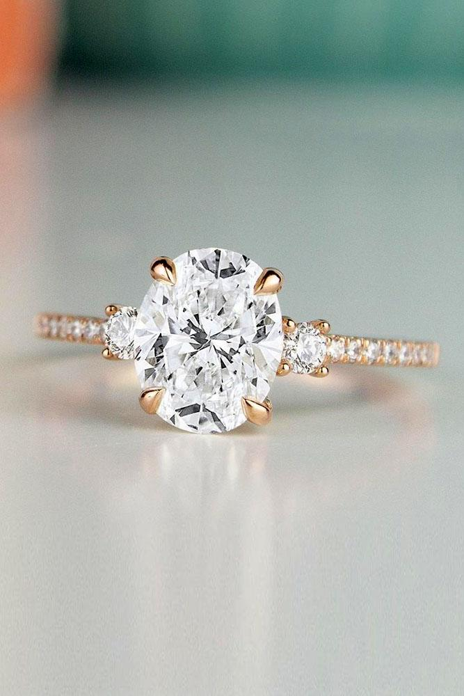 oval engagement rings rose gold engagement rings pave band
